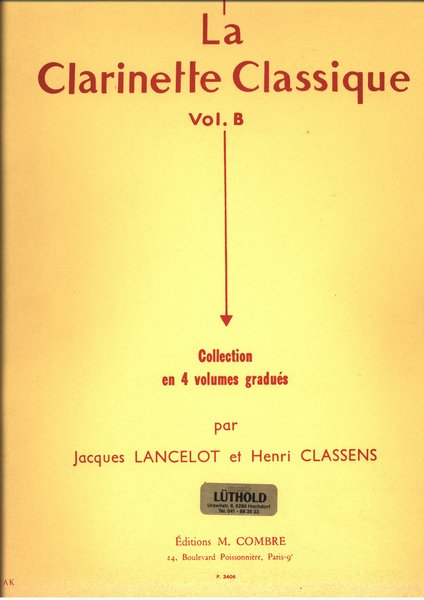 Combre La Clarinette Classique Songbooks for Clarinet