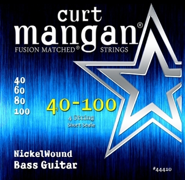 Curt Mangan Bass Guitar Nickel Wound 4 String Short Scale (40-100) 4-String Electric Bass String Sets .040