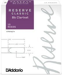 D'Addario Bb Clarinet Reserve Classic #4+ (strength 4.0+, 10 pack) Bb Clarinet Reeds 4 Boehm