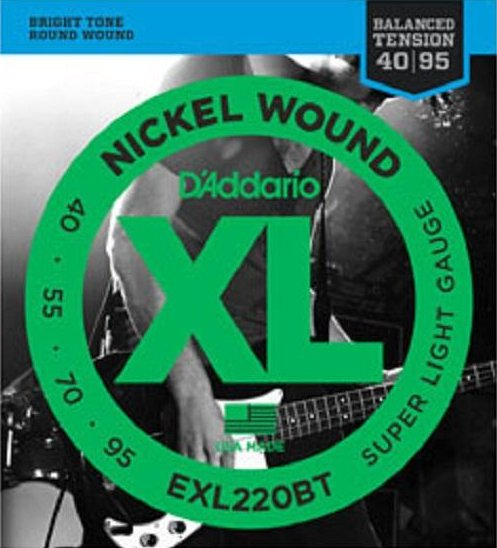 D'Addario EXL220BT Balanced Tension, Long Scale Super Light / 040-095 4-String Electric Bass String Sets .040