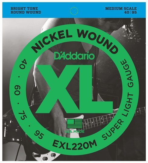 D'Addario EXL220M Super Soft Gauge, Meidum Scale 4-String Electric Bass String Sets .040