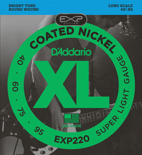 D'Addario EXP220 Super Soft, Long Scale 4-String Electric Bass String Sets .040