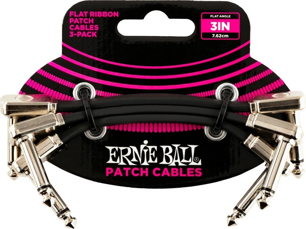 Ernie Ball 6220 Patch Cable Pack - 7.5cm (black) Conjunto Cabos Patch Mono-Jack