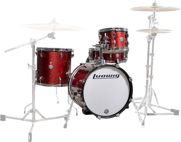 "Ludwig Breakbeats by Questlove (Winered Sparkle) Acoustic Drum Set up to 16"" Bass"