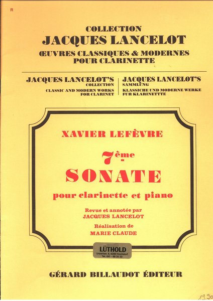 Jacques Lancelot 7 me sonate Songbooks for Clarinet
