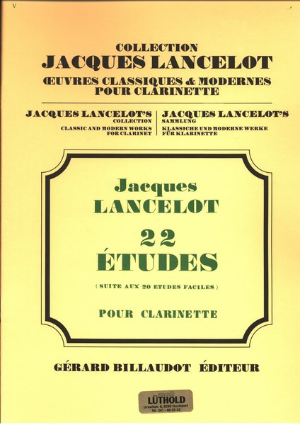 Jacques Lancelot colletion 22 Etudes Songbooks for Clarinet