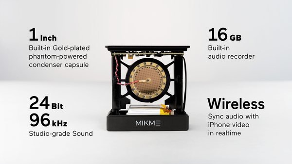 Mikme Microphone Gold 16GB / Wireless Smartphone Mic Audio Recorder