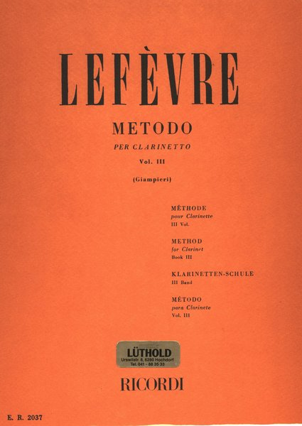 Ricordi Milano Metodo Vol 3 Lefevre Jean Xavier Songbooks for Clarinet