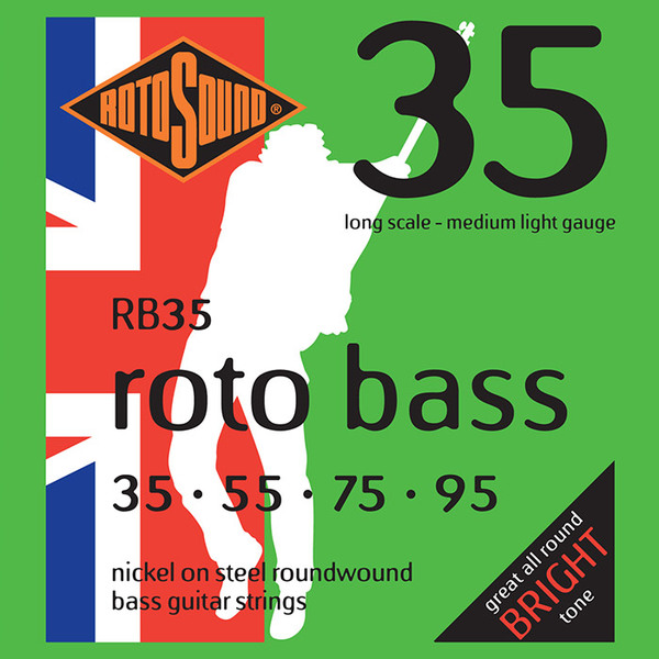 Roto Sound Roto Bass RB 35 Nickel on Steel Roundwound (35-95 - long scale) 4-String Electric Bass String Sets .035