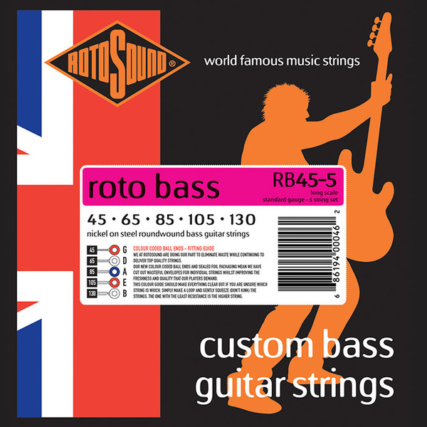 Roto Sound Roto Bass RB 45-5 Nickel on Steel Roundwound (45-130 - long scale) 5-String Electric Bass String Sets