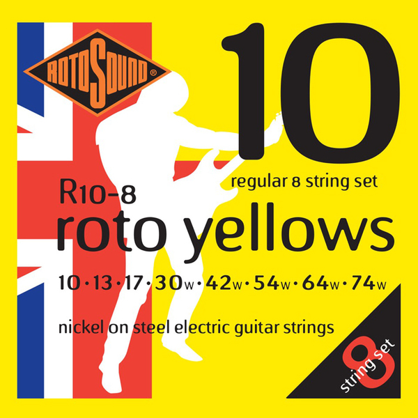 Roto Sound Roto Yellows R10-8 (10-74) 8-String Electric Guitar String Sets
