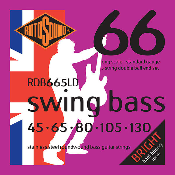 Roto Sound Swing Bass Stainless Steel RDB665LD Double Ball End (45-130 - long scale) 5-String Electric Bass String Sets