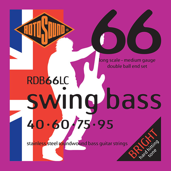Roto Sound Swing Bass Stainless Steel RDB66LC Double Ball End (40-95 - long scale) 4-String Electric Bass String Sets .040