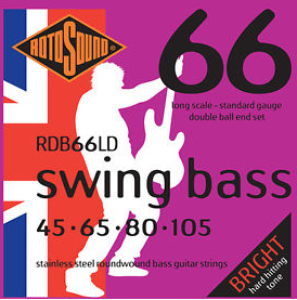 Roto Sound Swing Bass Stainless Steel RDB66LD Double Ball End (45-105 - long scale) 4-String Electric Bass String Sets .045