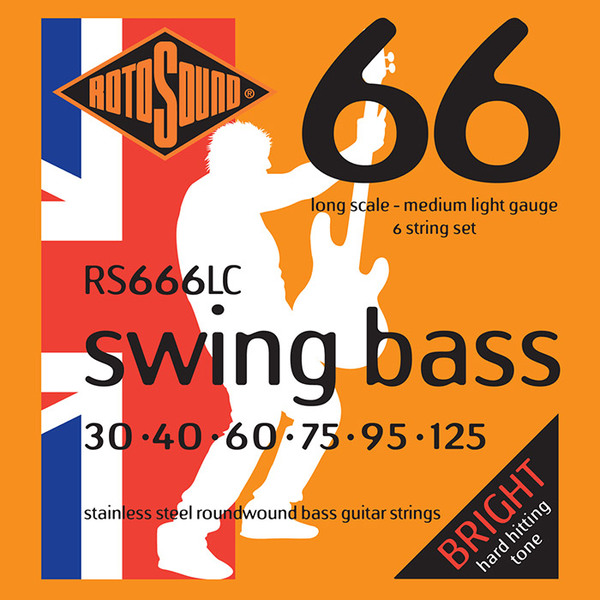 Roto Sound Swing Bass Stainless Steel RS666LC (30-125 - long scale) 6-String Electric Bass String Sets