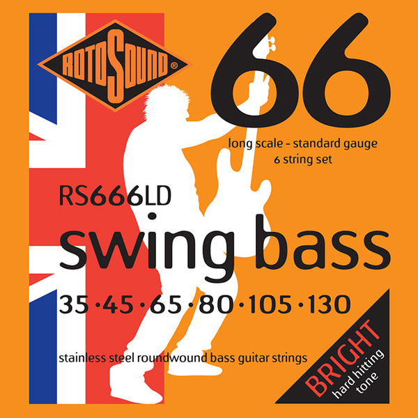 Roto Sound Swing Bass Stainless Steel RS666LD (35-130 - long scale) 6-String Electric Bass String Sets