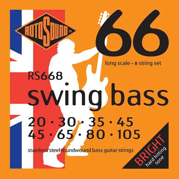Roto Sound Swing Bass Stainless Steel RS668 8 String Set (20-105 - long scale) 6-String Electric Bass String Sets