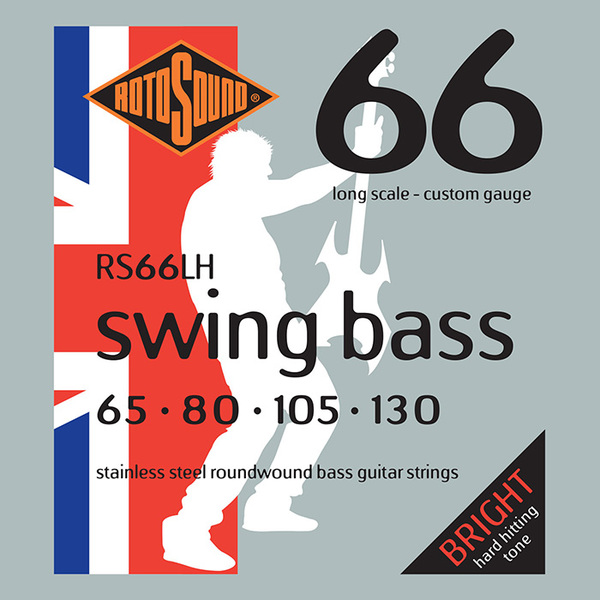 Roto Sound Swing Bass Stainless Steel RS66LH Drop Zone (65-130 - long scale) 4-String Electric Bass String Sets .065+