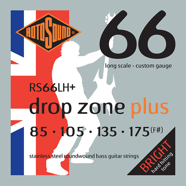 Roto Sound Swing Bass Stainless Steel RS66LH+ Drop Zone Plus (85-175 - long scale) Corzi Chitare Bas .065 +