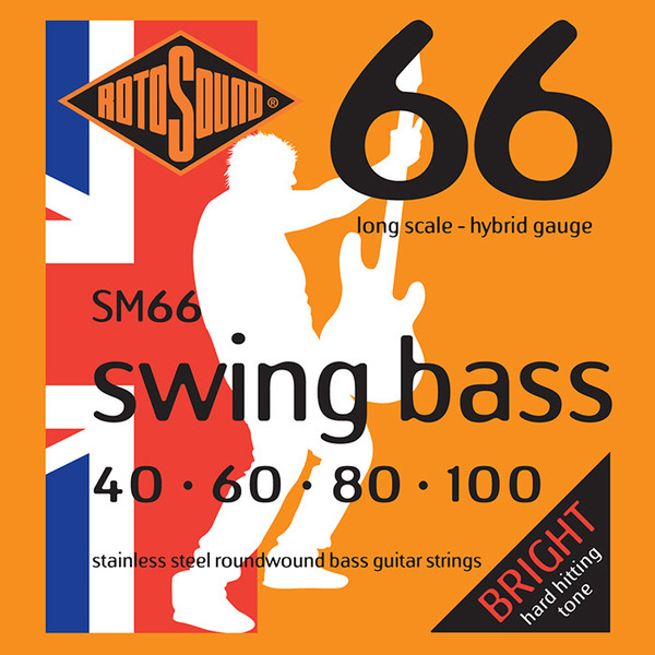 Roto Sound Swing Bass Stainless Steel SM66 Hybrid Gauge (40-100 - long scale) 4-String Electric Bass String Sets .040
