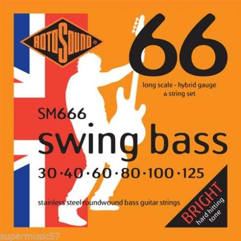 Roto Sound Swing Bass Stainless Steel SM666 (30-125 - long scale) 6-String Electric Bass String Sets