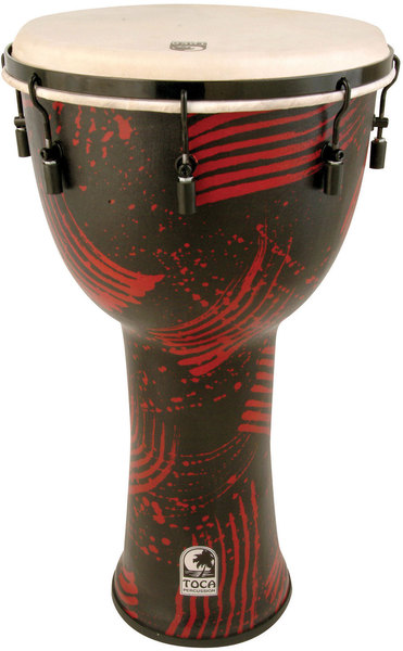 Toca Percussion SFDMX-10AR Synergy Freestyle Mechanically (Abstract Red) Djembe