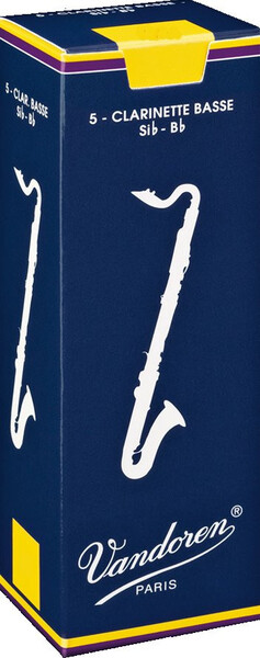 Vandoren Bass Clarinet Traditional 3 (5 reeds set) Bass Clarinet Reeds 3 Boehm
