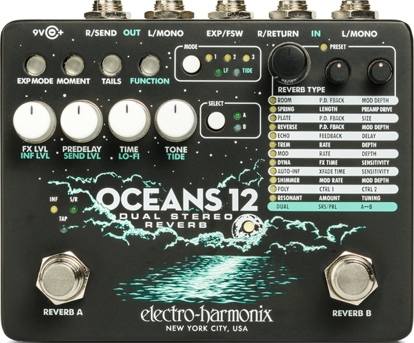 electro-harmonix Oceans 12 Dual Stereo Reverb Reverb Pedale