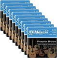 D'Addario EJ16 Light (10 Packs) Set Corde Per Chitarra Acustica Pacco da 10