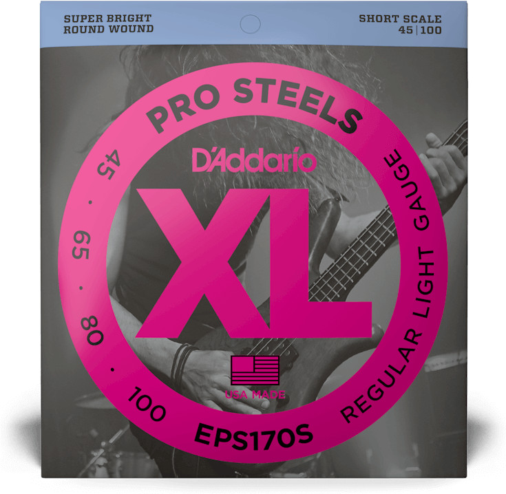D'Addario EPS170S Short Scale ProSteels Bass Light (045-100)