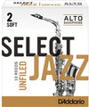 D'Addario Select Jazz Unfiled Alto-Sax #2 Soft / Unfiled (strength 2 soft, 10 pack)