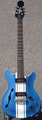 Indie Guitars Double Cut Blue/White Stripe